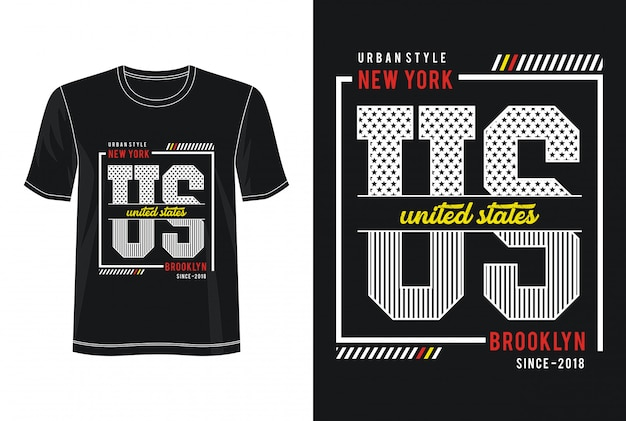 T-shirt do design da tipografia de nova iorque