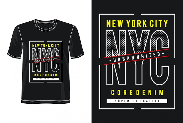 T-shirt do design da tipografia do nyc