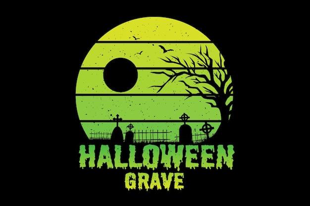 T-shirt do dia das bruxas túmulo árvore natureza ilustração vintage