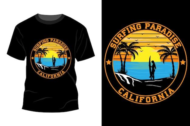 T-shirt do paraíso do surfe califórnia design de maquete vintage retro
