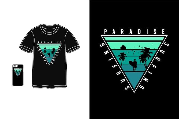 T-shirt do surf paraíso e maquete da silhueta da mercadoria