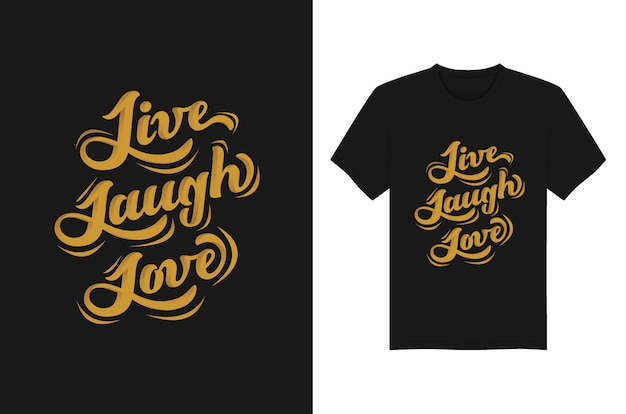 T-shirt e fato da tipografia das letras de amor do riso vivo