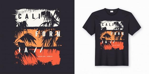 T-shirt e roupas elegantes do lado do oceano da califórnia na moda com silhuetas de palmeiras