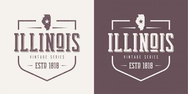 T-shirt e roupas vintage texturizadas do estado de illinois