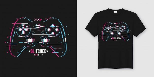 T-shirt e vestuário elegantes na moda com gamepad com falhas