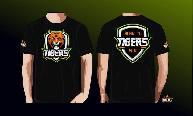 T shirt esporte com tigre.