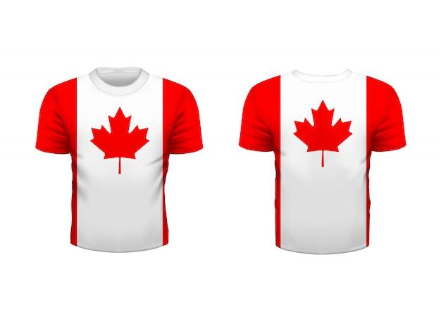 T-shirt esporte realista com bandeira do canadá