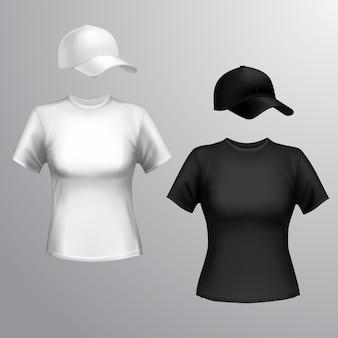 T-shirt feminino camiseta boné de beisebol