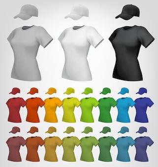 T-shirt feminino liso e modelo de boné.