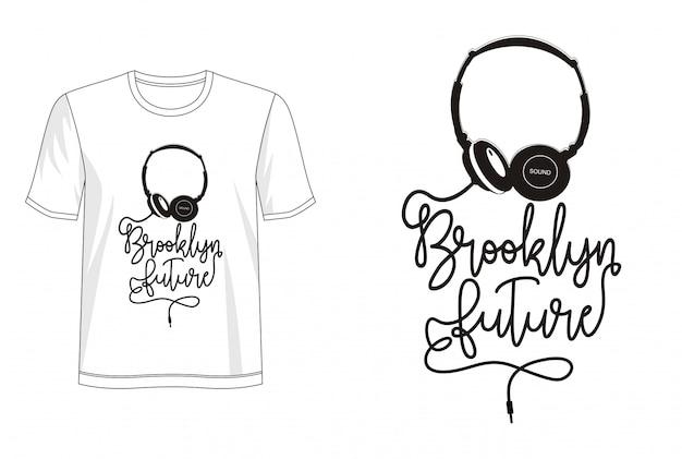 T-shirt futuro do design da tipografia de brooklyn