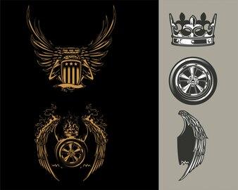 T-shirt gráfico de elemento de Design de carro