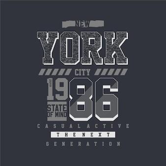 T-shirt gráfico do estado de espírito da cidade de nova york tipografia ilustração estilo casual