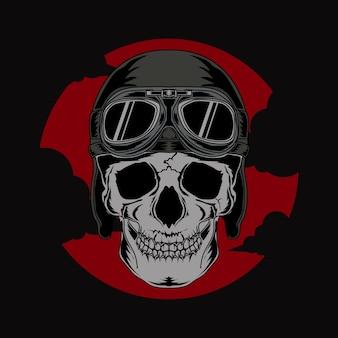 T-shirt, ilustração, e, tshirt, desenho, crânio, com, capacete piloto