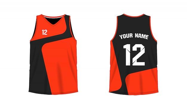 T-shirt laranja e preto modelo de basquete ou futebol para o clube da equipe em fundo branco. esporte de jersey,