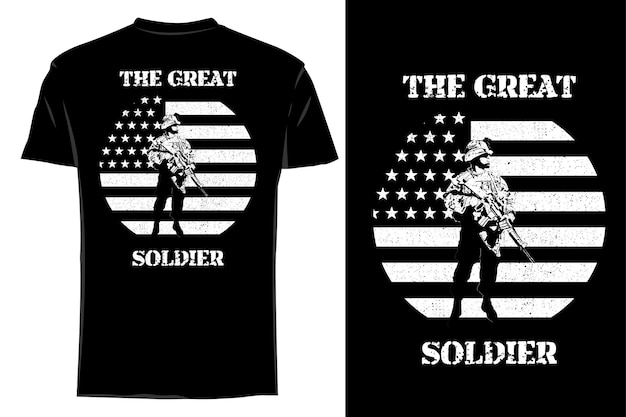T-shirt maquete silhueta o grande soldado retro vintage