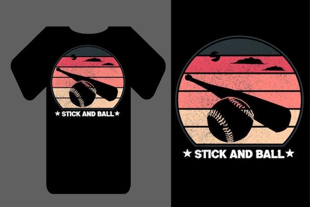 T-shirt maquete silhueta stick e bola retro vintage