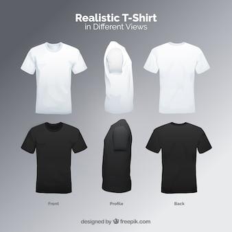 T-shirt masculina em diferentes pontos de vista com estilo realista 28e97ac4d7b31