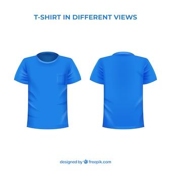 T-shirt masculina em diferentes pontos de vista com estilo realista