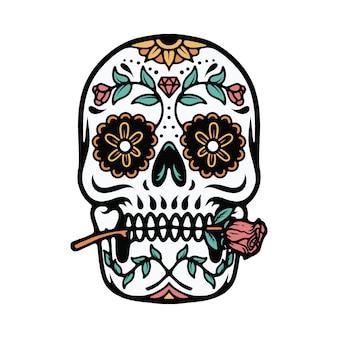 T-shirt mexicano da ilustração do ornamento do crânio