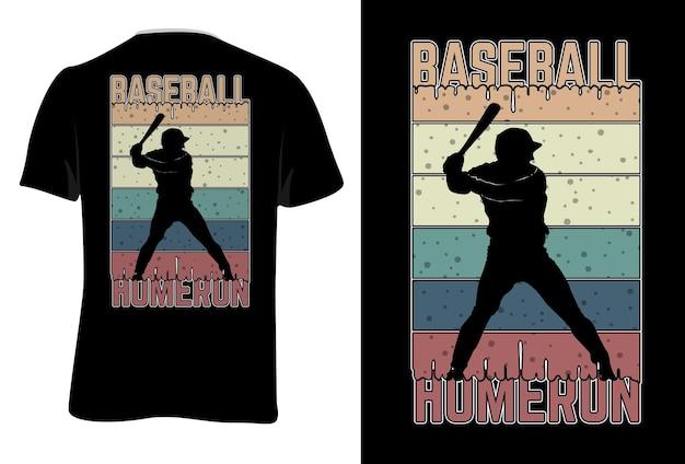 T-shirt mock up beisebol home run retro estilo vintage