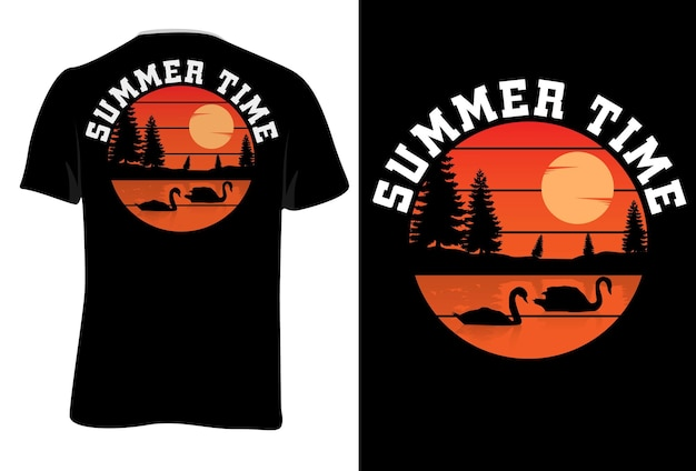 T-shirt mock up horário de verão retro estilo vintage