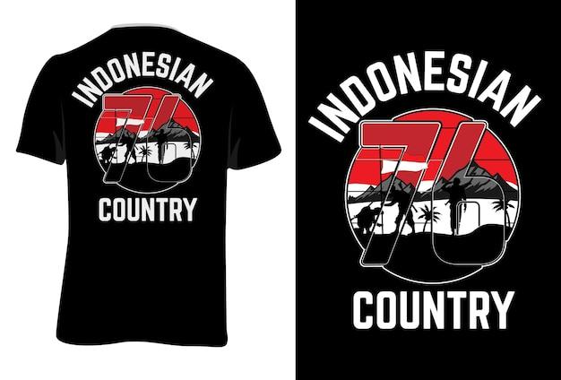 T-shirt mock up indonésio country retro estilo vintage