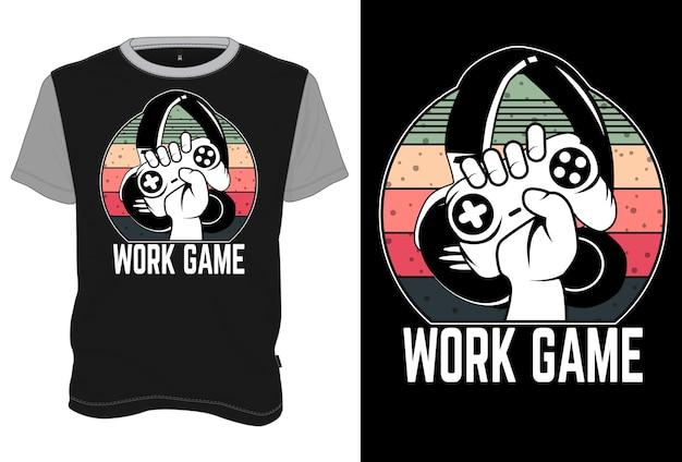 T-shirt mock up jogo de trabalho estilo retro vintage