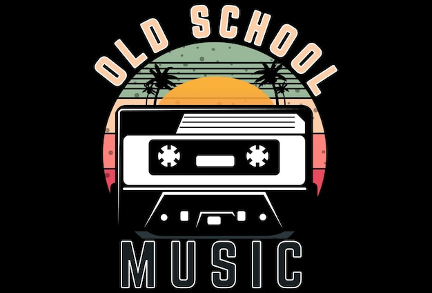 T-shirt mock up música da velha escola estilo retro vintage