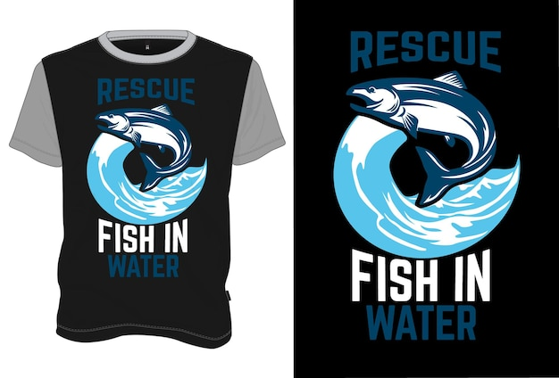 T-shirt mock up rescue fish estilo retro vintage