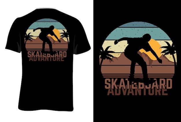 T-shirt mock up skateboard aventura estilo retro vintage
