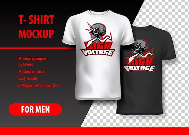 T-shirt mockup com alta tensão e crânio em duas cores
