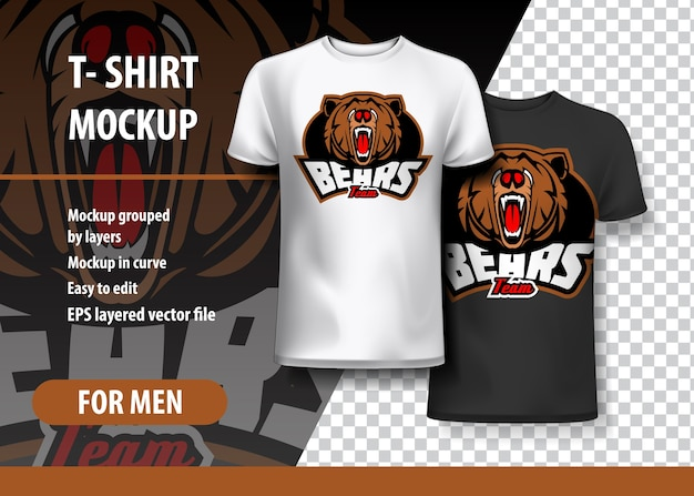 T-shirt mockup with bears em duas cores
