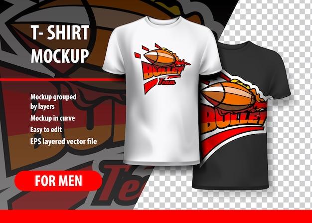 T-shirt mockup with bullet frase em duas cores
