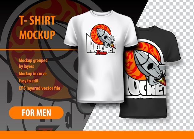 T-shirt mockup with rocket frase em duas cores
