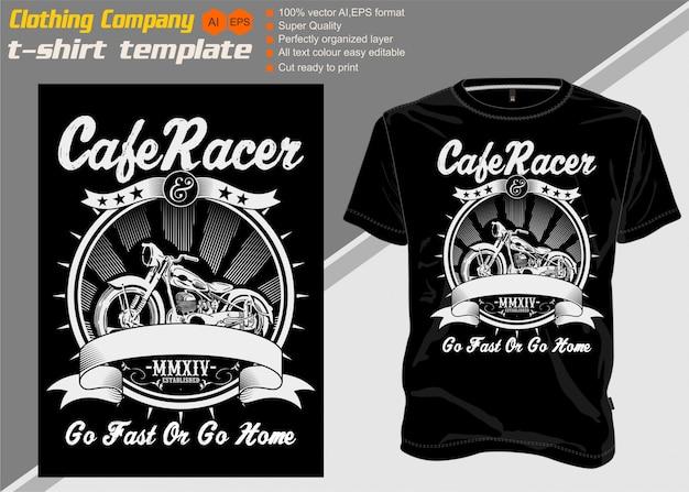 T-shirt modelo café racer com retro ciclo motor ilustração vetorial