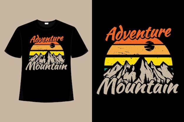 T-shirt montanha aventura pinho retro ilustração vintage