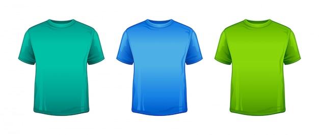 T-shirt na cor verde menta, azul e verde. maquete de camiseta em branco. modelo de camisa esporte unissex na moda para criança, adolescente, adulto. ícone de moda corpo vestir.