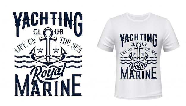 T-shirt náutica âncora impressão de iate clube