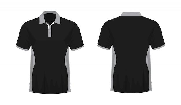 T-shirt polo cinza e preto modelo de design em fundo branco.