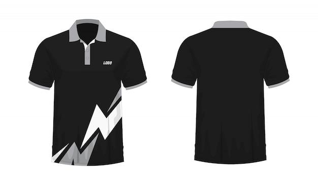 T-shirt polo cinza e preto modelo de design.
