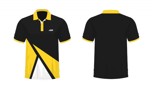 T-shirt polo modelo amarelo e preto para o projeto.
