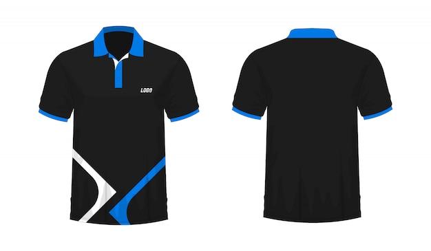 T-shirt polo modelo azul e preto para o projeto no fundo branco.