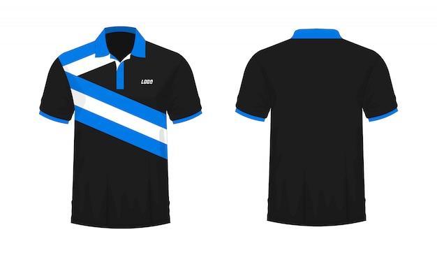 T-shirt polo modelo azul e preto para o projeto.