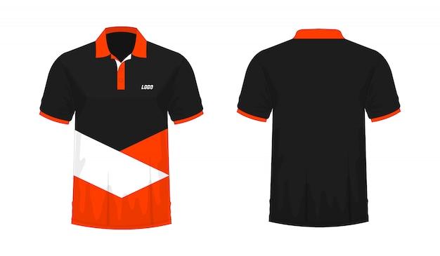 T-shirt polo modelo laranja e preto para o projeto.
