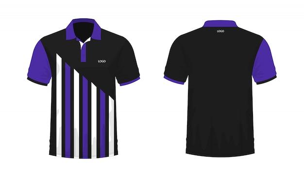 T-shirt polo modelo roxo e preto para o projeto.