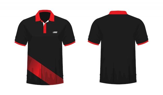 T-shirt polo modelo vermelho e preto para o projeto.