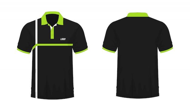 T-shirt polo verde e preto modelo de design.