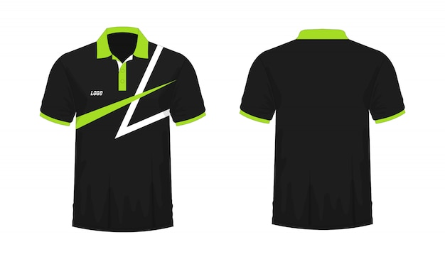 T-shirt polo verde e preto t ilustração