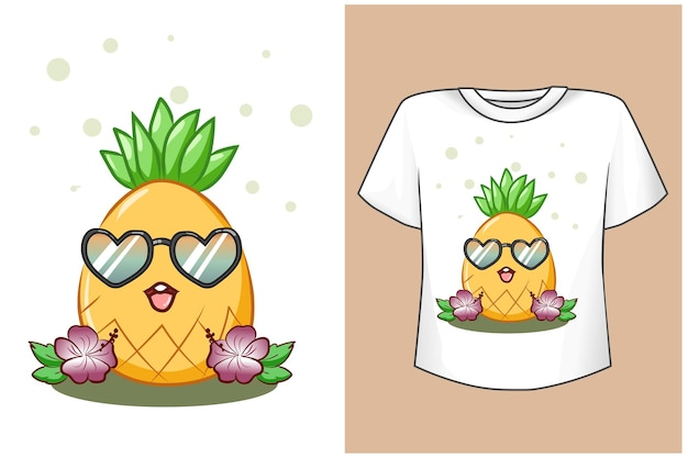 T-shirt projeto maquete abacaxi fofo na praia