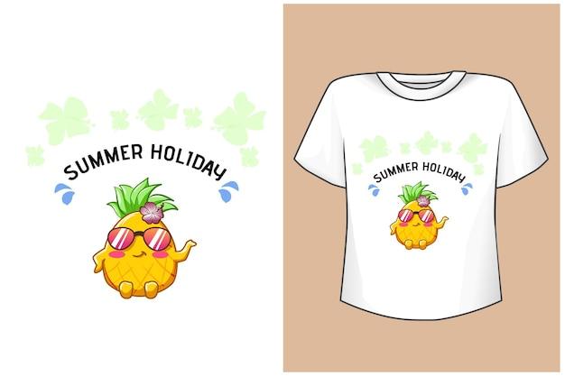 T-shirt projeto maquete engraçado abacaxi nas férias de verão